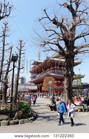 TOKYO, JAPAN - MARCH 29, 2016 : Tourist visit sensoji temple in Tokyo on 29 March 2016. Sensoji temple is the most famous attraction in Asakusa, Tokyo, Japan