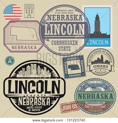 Stamp set with the name and map of Nebraska, United States, vector illustration