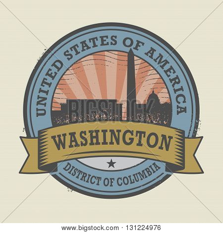 Grunge rubber stamp or label with name of Washington, District of Columbia, vector illustration