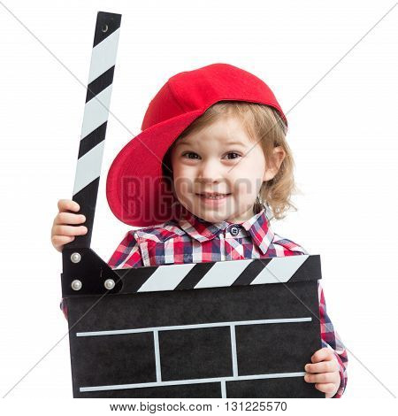 child girl holding clapper board in her hands isolated