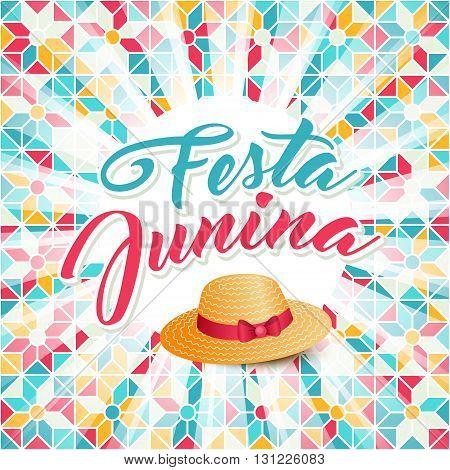 Festa Junina illustration - traditional Brazil june festival party - Midsummer holiday. Carnival background - lettering Festa Junina thatched hat light rays on abstract festive pattern.