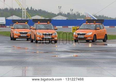 MOSCOW, RUSSIA - MAY 19, 2016: Airdrome car Follow Me at Domodedovo airport. Domodedovo is the largest airport in Russia