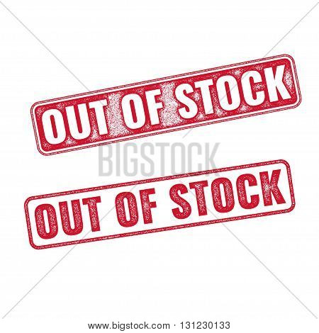 Two textured vector stamps Out of Stock isolated on white background. Red Out of Stock rubber stamp