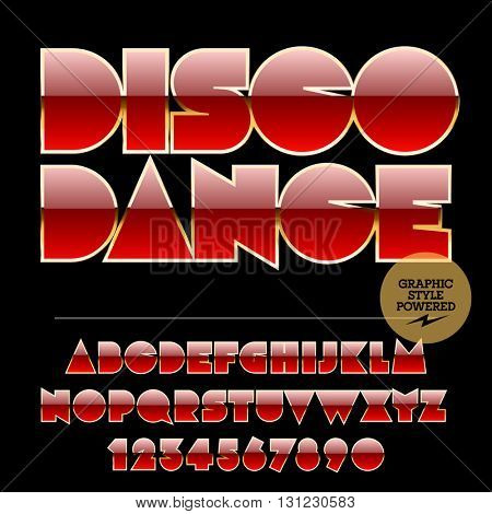 Retro styled set of red and golden alphabet letters, numbers and punctuation symbols. Vector logotype with text Disco dance