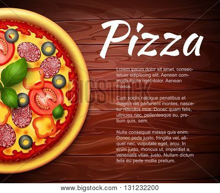 realistic Pizza recipe or menu vector background. Pizza with tomatoes and pepperoni on wooden table with copy space aside