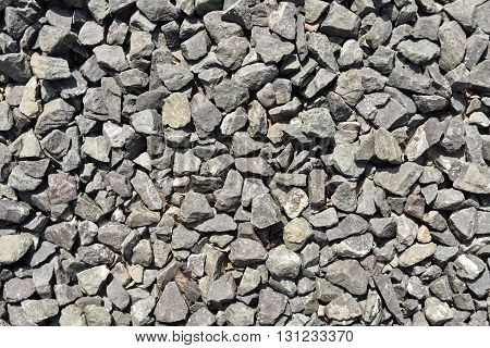 Close-up of crushed gravel as background or texture.