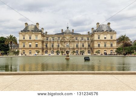 Paris, France - May 14, 2013: It is Luxemburg Palace in Paris from the Jardin du Luxembourg.