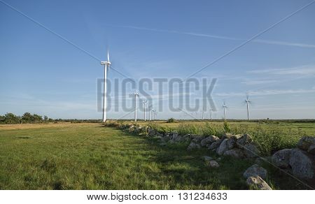 Wind Powerplant Farm in Field in Gotland Sweden.