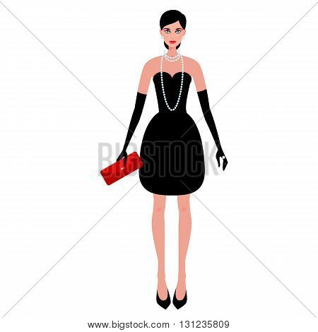 Сute fashionable girl on the evening of luxury glamor clothes. The stylish little black dress, clutch bag, pearls. Vector illustration of people isolated on white background.