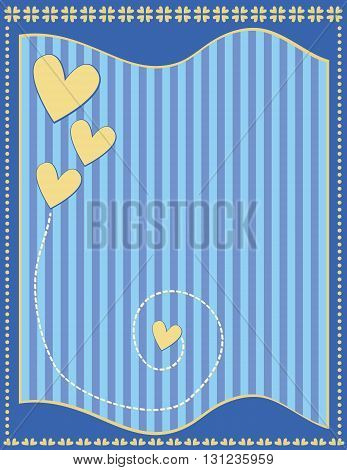 Romantic blue background with hearts, stripes and dots