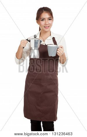 Asian Barista Girl With Coffee Moka Pot And Cup