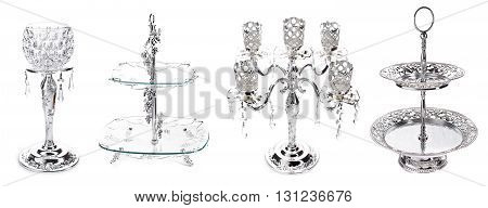 Items For A Restaurant Table Made Of Cupronickel On A White Background