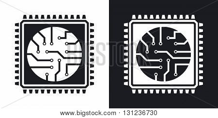 Vector processor icon. Two-tone version on black and white background