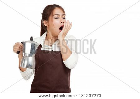 Tired Asian Barista Girl Yawn With Coffee Moka Pot