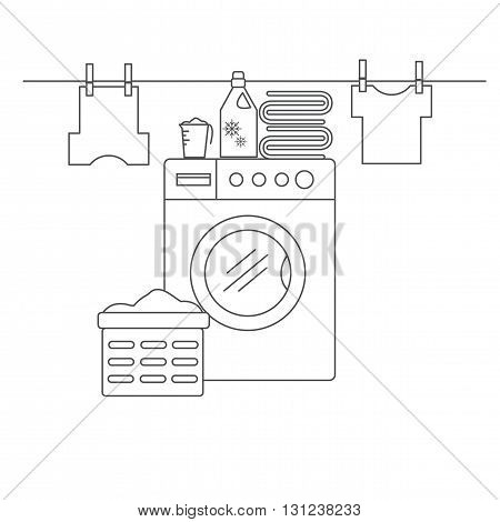 Laundry room for washing and drying items. Laundry room with washing machine linens and laundry facilities. Laundry room in the style of the line. Vector illustration.