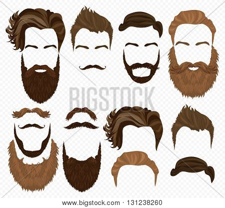 Man hair, mustache and beards collection. Hipster high detailed fashion elements