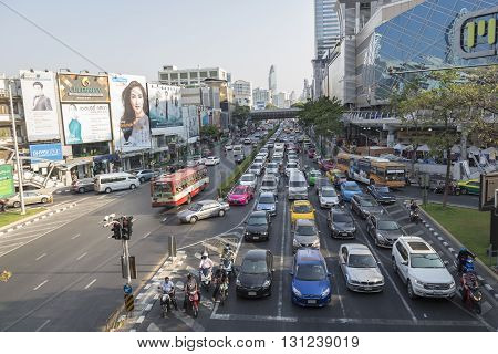 BANGKOK THAILAND - APR 24 : scene of traffic jam on Phayathai Road at Pathum Wan junction on april 24 2016 thailand. traffic jam is one of worse issue of Bangkok
