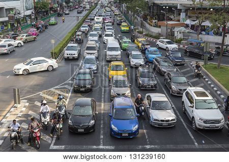 BANGKOK THAILAND - APR 24 : traffic jam on Phayathai Road at Pathum Wan junction on april 24 2016 thailand. traffic jam is one of worse issue of Bangkok