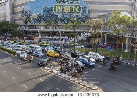 BANGKOK THAILAND - APR 24 : traffic jam on Phayathai Road near MBK center at Pathum Wan junction on april 24 2016 thailand. traffic jam is one of worse issue of Bangkok