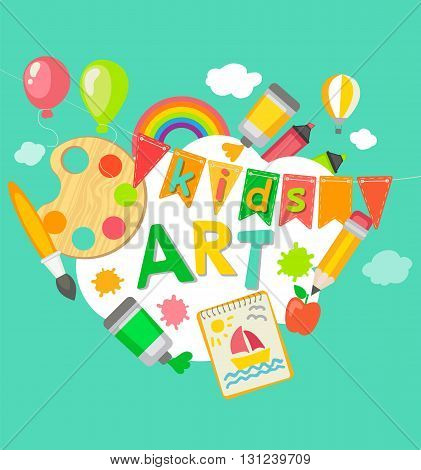 Themed Kids art poster in flat style, vector illustration. Frame with artistic objects, vector illustration for children art school, summer art fest.