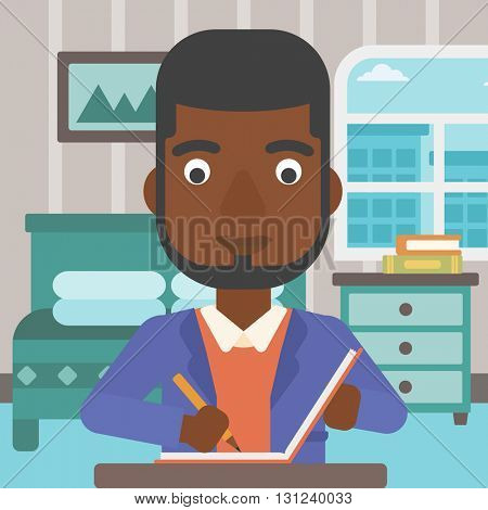 An african-american man sitting at the table and writing an article in writing-pad on the background of bedroom vector flat design illustration. Square layout.