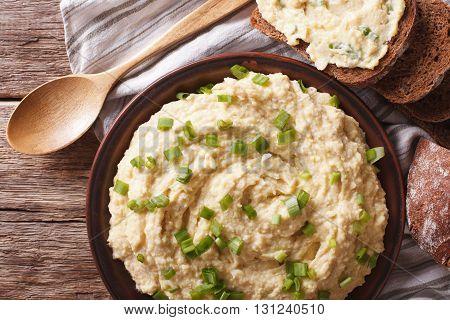 Jewish Cuisine: Pate Of Herring - Forshmak Close-up. Horizontal Top View