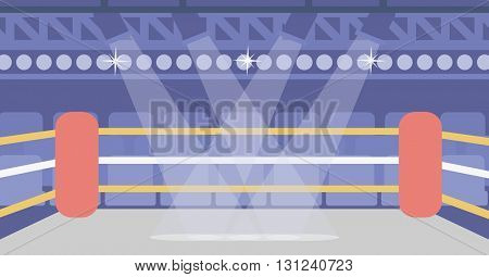 Background of boxing ring vector flat design illustration. Horizontal layout.