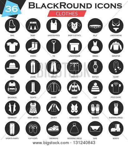Vector Clothes shoes circle white black icon set. Ultra modern icon design for web