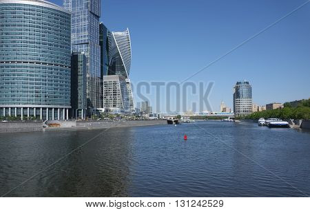 MOSCOW, RUSSIA - MAY 13, 2016: View of high-rise towers Moscow International Business Center (Moscow-city) and bridge Bagration