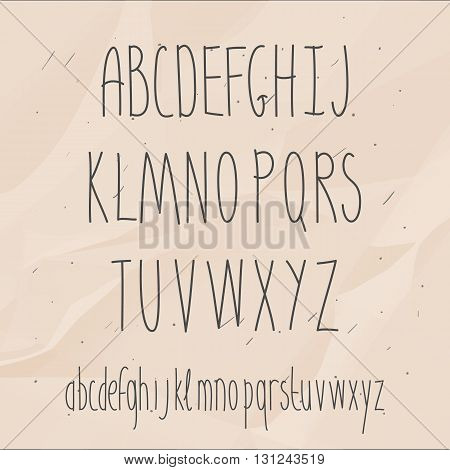 Cute hand drawn letter. Doodle type. Slim. Sans serif. Display faces. Uppercase and lowercase letters.