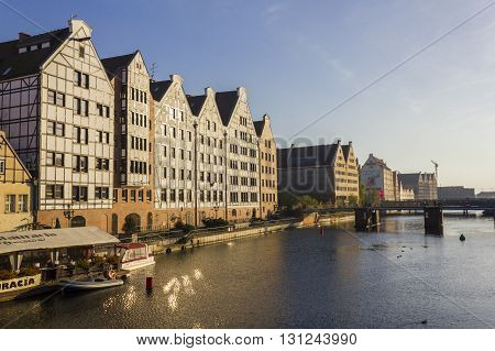GDANSK, POLAND - OCTOBER 20: Historic granaries along the Motlawa river on October 20, 2012 in Gdansk.