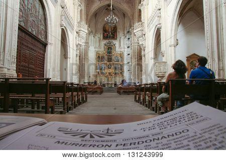 Toledo Spain - September 30 2007: Parish newspaper at San Juan de los Reyes Church Toledo
