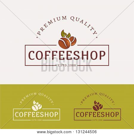 Coffee shop symbol. Templates for сolor and monochrome versions. Logotypes isolated on clean background. Vector illustration.