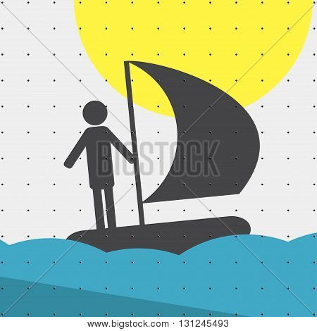 Colorful sports poster-style minimalism flat for commercial websites. The athlete sails on a sailing boat sailing. Vector illustration