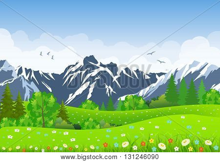 Summer landscape with meadows and mountains. forest, nature landscape, vector background. vector illustration in flat design