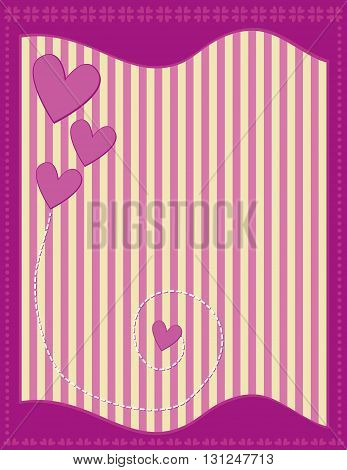 Romantic background with pink hearts and stripes
