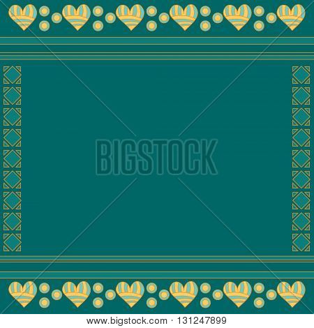 Romantic green modern background with abstract pattern and hearts