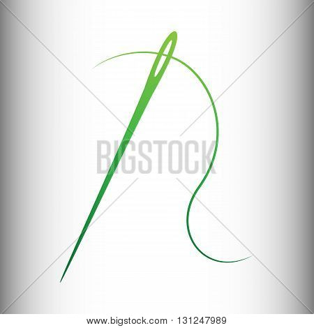 Needle with thread sewing needle, needle for sewing. Green gradient icon on gray gradient backround.
