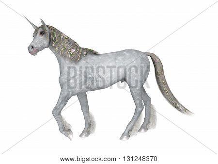 3D Rendering Fantasy Unicorn On White