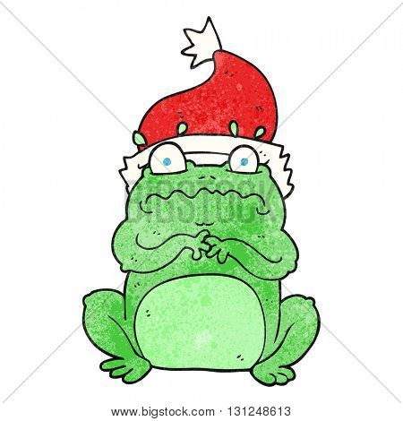 freehand textured cartoon frog in christmas hat