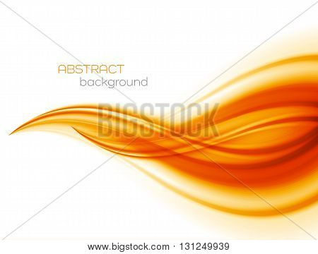 Abstract orange color wave design element. Abstract smooth color wavy . Curve flow orange motion illustration. Orange smooth wave lines. Orange wave