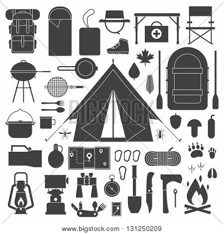 Hiking And Camping Outline Icon Set.