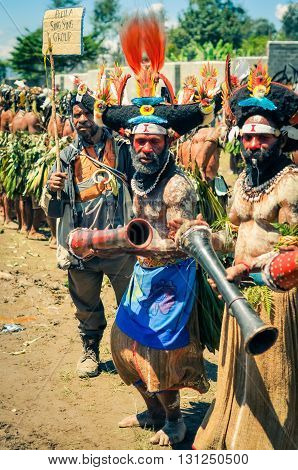 Old Dancing Men In Papua New Guinea