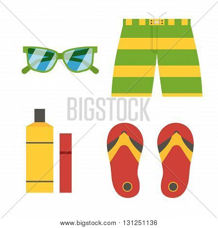 Summer Beach Accessories Vector Icons