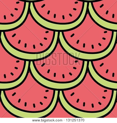 Seamless summer background. Hand drawn pattern. Suitable for fabric, greeting card, advertisement, wrapping. Bright and colorful slices of watermelon pattern