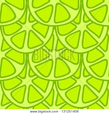 Seamless summer background. Hand drawn pattern. Suitable for fabric, greeting card, advertisement, wrapping. Bright and colorful green lime summer pattern