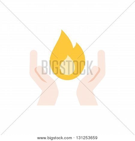 illustration of two hands and fire, concept of holy spirit,science and energy, flat design