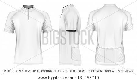 Men's short sleeve cycling jersey with short zip. Fully editable handmade mesh. Vector illustration.