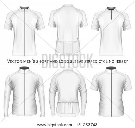 Men's short and long sleeve zipped cycling jersey. Fully editable handmade mesh. Vector illustration.