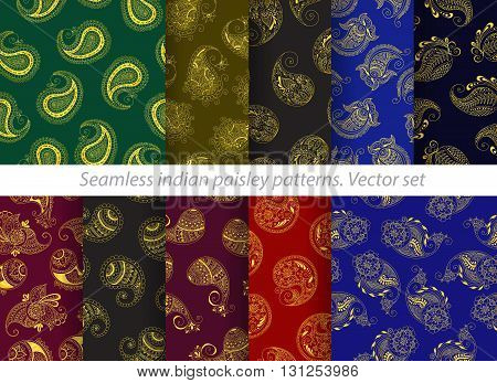 Vector set of seamless indian paisley pattern. Stock mehndi illustration for design - indian cucumbers background.